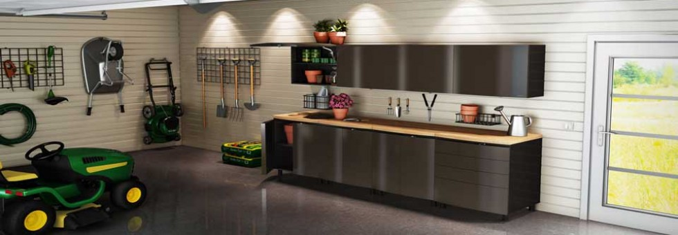 Steel Cabinets Wooden Countertop