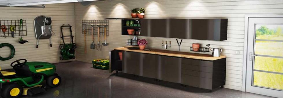 Steel Cabinets Wooden Countertop